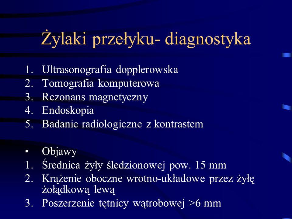 Żylaki przełyku- diagnostyka 1.Ultrasonografia dopplerowska 2.Tomografia komputerowa 3.Rezonans magnetyczny 4.Endoskopia 5.Badanie radiologiczne z kon