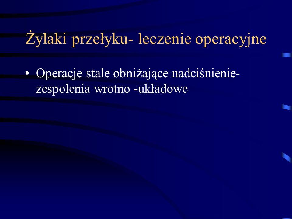 Żylaki przełyku- leczenie operacyjne Operacje stale obniżające nadciśnienie- zespolenia wrotno -układowe