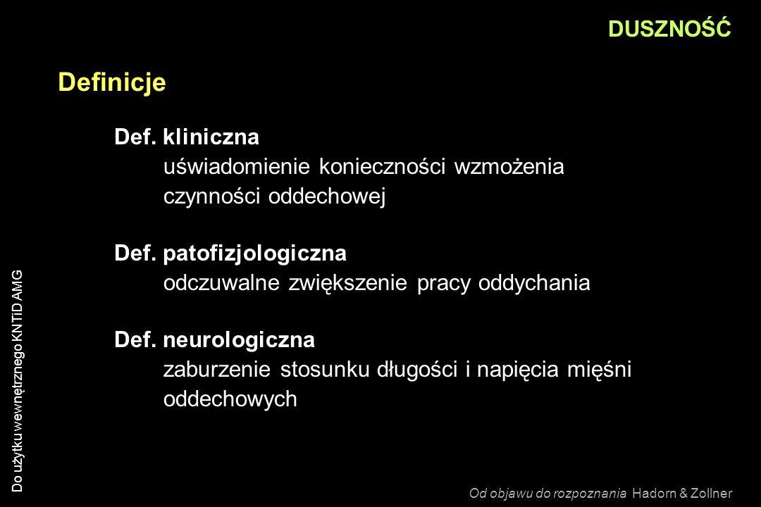 Definicje Def. kliniczna uświadomienie konieczności wzmożenia czynności oddechowej Def. patofizjologiczna odczuwalne zwiększenie pracy oddychania Def.