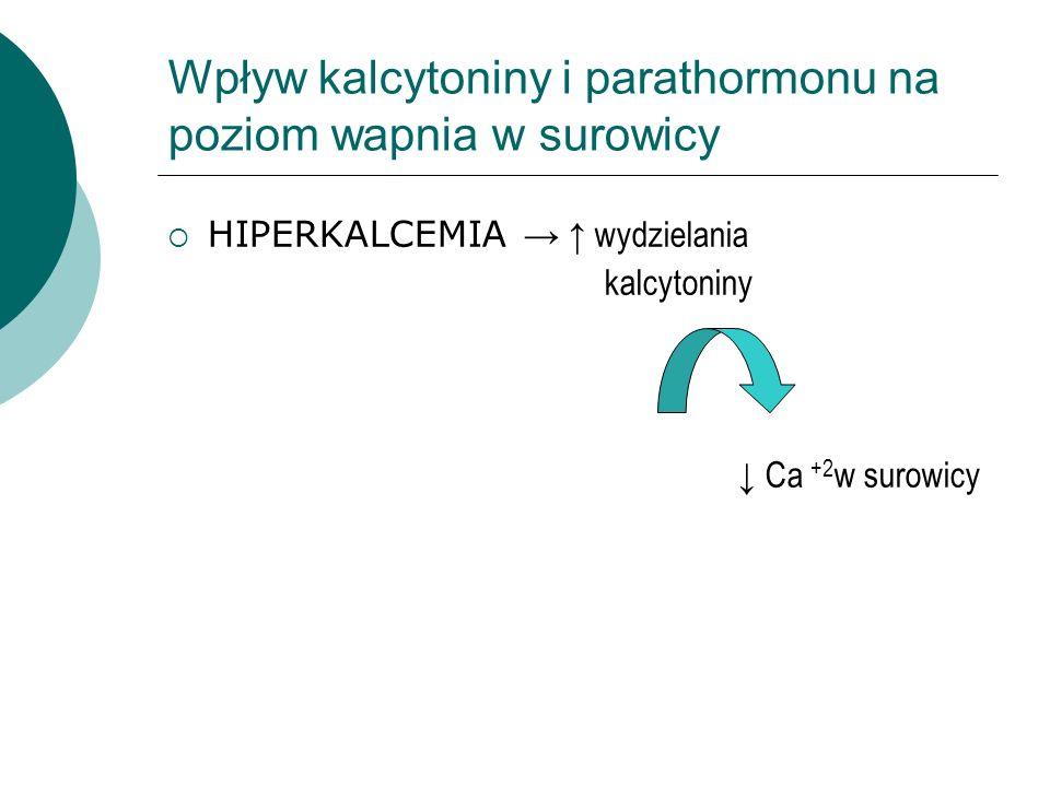 Wpływ kalcytoniny i parathormonu na poziom wapnia w surowicy  HIPERKALCEMIA → ↑ wydzielania kalcytoniny ↓ Ca +2 w surowicy