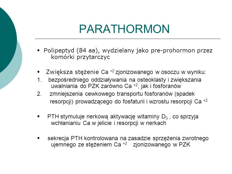 PARATHORMON P olipeptyd (84 aa), wydzielany jako pre-prohormon przez komórki przytarczyc Zwiększa stężenie Ca +2 zjonizowanego w osoczu w wyniku: 1. b