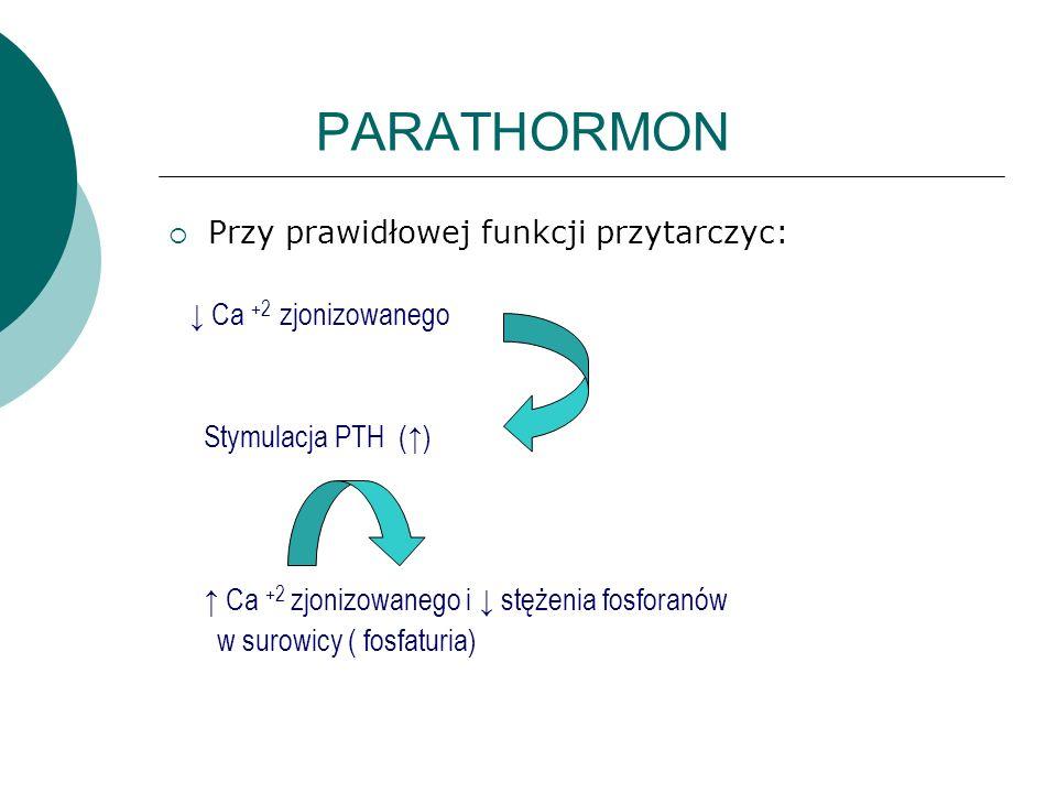 PARATHORMON  Przy prawidłowej funkcji przytarczyc: ↓ Ca +2 zjonizowanego Stymulacja PTH (↑) ↑ Ca +2 zjonizowanego i ↓ stężenia fosforanów w surowicy ( fosfaturia)