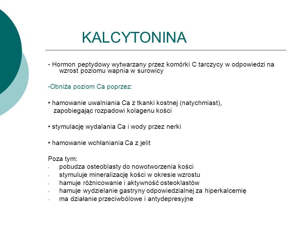 KALCYTONINA - Hormon peptydowy wytwarzany przez komórki C tarczycy w odpowiedzi na wzrost poziomu wapnia w surowicy -Obniża poziom Ca poprzez: hamowanie uwalniania Ca z tkanki kostnej (natychmiast), zapobiegając rozpadowi kolagenu kości stymulację wydalania Ca i wody przez nerki hamowanie wchłaniania Ca z jelit Poza tym: - pobudza osteoblasty do nowotworzenia kości - stymuluje mineralizację kości w okresie wzrostu - hamuje różnicowanie i aktywność osteoklastów - hamuje wydzielanie gastryny odpowiedzialnej za hiperkalcemię - ma działanie przeciwbólowe i antydepresyjne
