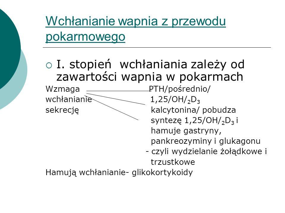 Wchłanianie wapnia z przewodu pokarmowego  I. stopień wchłaniania zależy od zawartości wapnia w pokarmach Wzmaga PTH/pośrednio/ wchłanianie 1,25/OH/