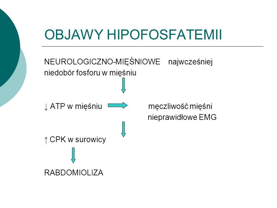 OBJAWY HIPOFOSFATEMII NEUROLOGICZNO-MIĘŚNIOWE najwcześniej niedobór fosforu w mięśniu ↓ ATP w mięśniu męczliwość mięśni nieprawidłowe EMG ↑ CPK w surowicy RABDOMIOLIZA