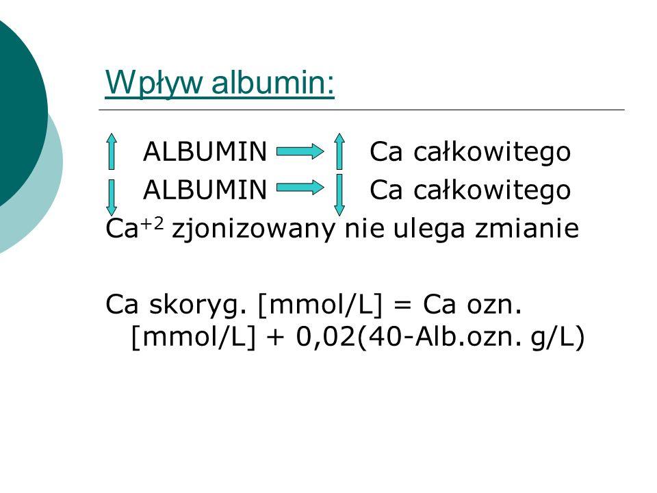 Wpływ albumin: ALBUMIN Ca całkowitego Ca +2 zjonizowany nie ulega zmianie Ca skoryg. [mmol/L] = Ca ozn. [mmol/L] + 0,02(40-Alb.ozn. g/L)