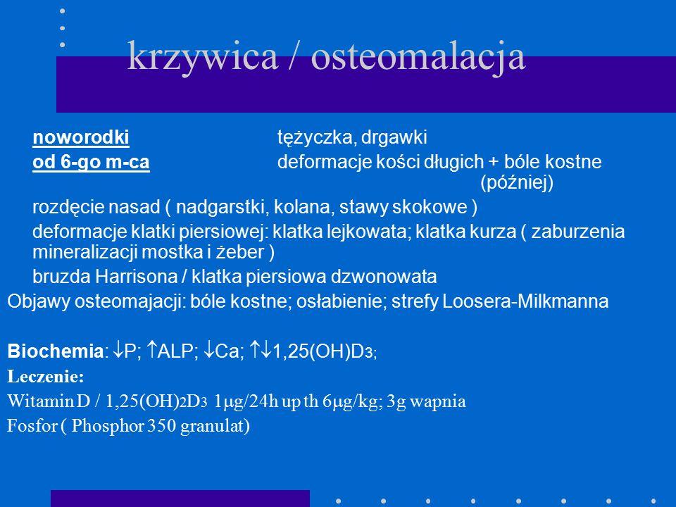 krzywica / osteomalacja noworodkitężyczka, drgawki od 6-go m-ca deformacje kości długich + bóle kostne (później) rozdęcie nasad ( nadgarstki, kolana,