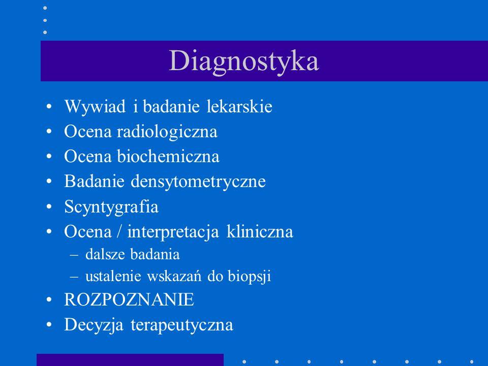 Wywiad i badanie lekarskie Ocena radiologiczna Ocena biochemiczna Badanie densytometryczne Scyntygrafia Ocena / interpretacja kliniczna –dalsze badani