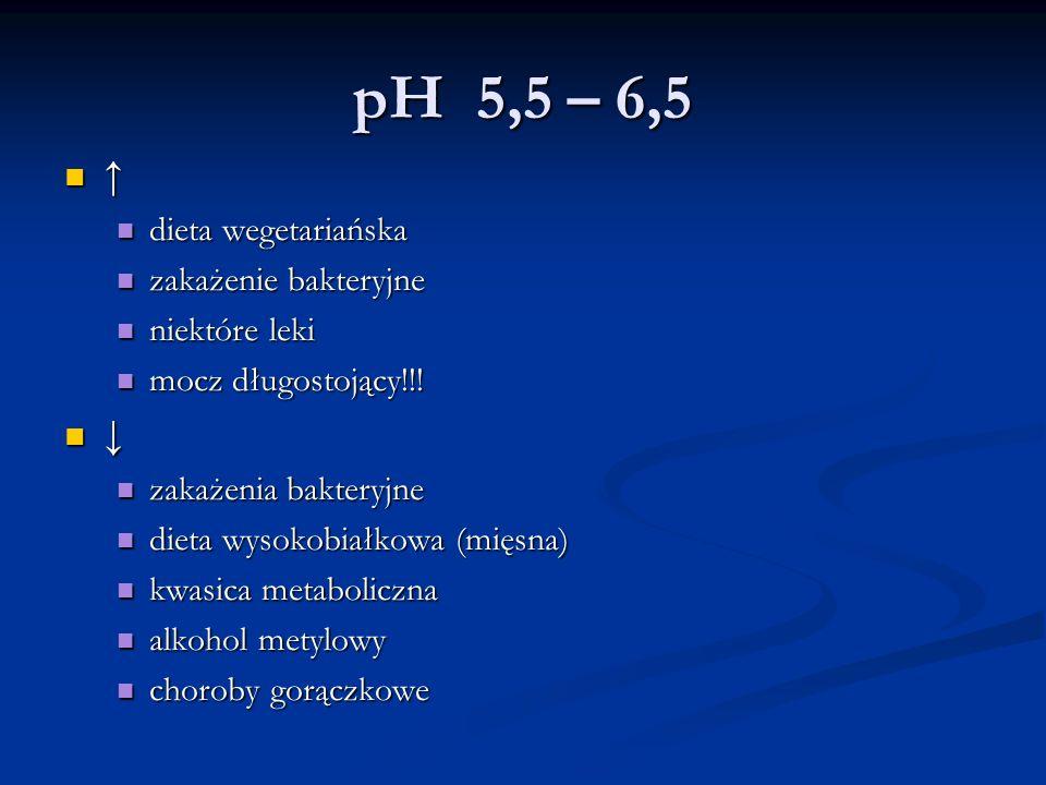 pH 5,5 – 6,5 ↑ dieta wegetariańska dieta wegetariańska zakażenie bakteryjne zakażenie bakteryjne niektóre leki niektóre leki mocz długostojący!!! mocz