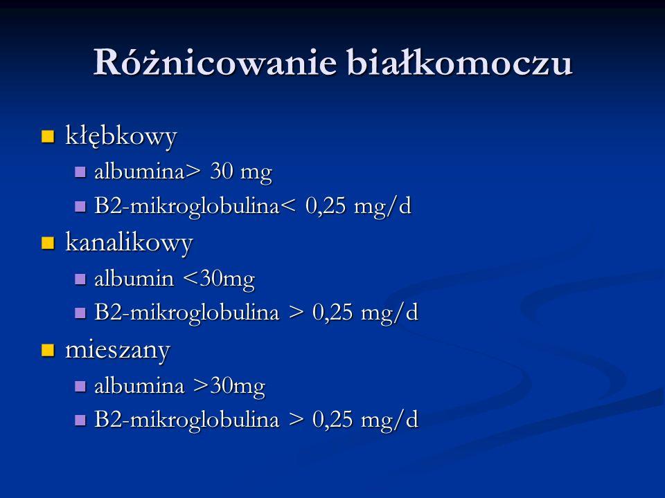 Różnicowanie białkomoczu kłębkowy kłębkowy albumina> 30 mg albumina> 30 mg B2-mikroglobulina< 0,25 mg/d B2-mikroglobulina< 0,25 mg/d kanalikowy kanali