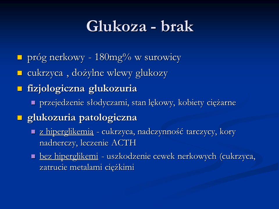 Glukoza - brak próg nerkowy - 180mg% w surowicy próg nerkowy - 180mg% w surowicy cukrzyca, dożylne wlewy glukozy cukrzyca, dożylne wlewy glukozy fizjo