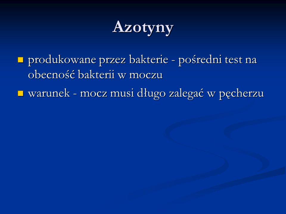 Azotyny produkowane przez bakterie - pośredni test na obecność bakterii w moczu produkowane przez bakterie - pośredni test na obecność bakterii w mocz