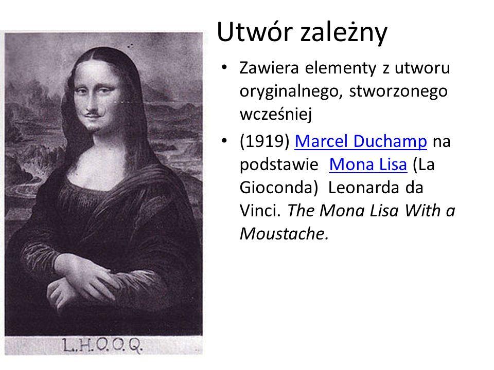 Utwór zależny Zawiera elementy z utworu oryginalnego, stworzonego wcześniej (1919) Marcel Duchamp na podstawie Mona Lisa (La Gioconda) Leonarda da Vin