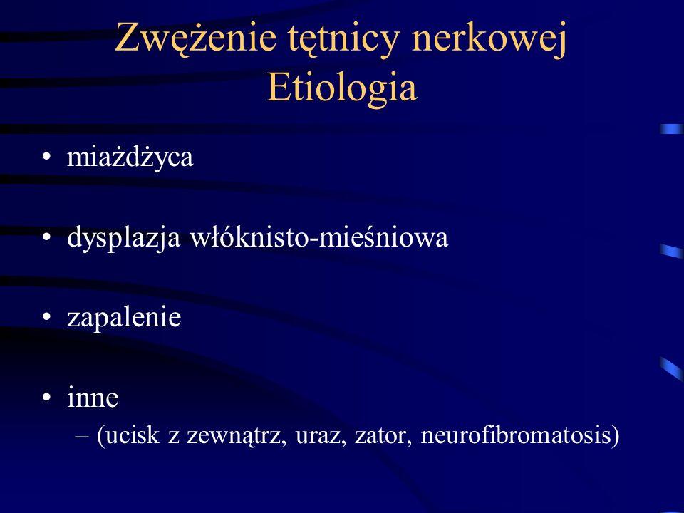 Zwężenie tętnicy nerkowej Etiologia miażdżyca dysplazja włóknisto-mieśniowa zapalenie inne –(ucisk z zewnątrz, uraz, zator, neurofibromatosis)