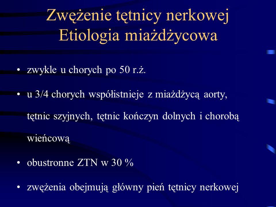 Zwężenie tętnicy nerkowej Etiologia miażdżycowa zwykle u chorych po 50 r.ż. u 3/4 chorych współistnieje z miażdżycą aorty, tętnic szyjnych, tętnic koń