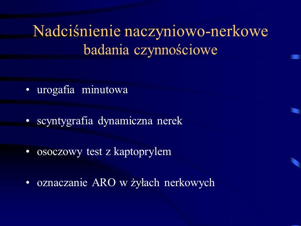 Nadciśnienie naczyniowo-nerkowe badania czynnościowe urogafia minutowa scyntygrafia dynamiczna nerek osoczowy test z kaptoprylem oznaczanie ARO w żyła