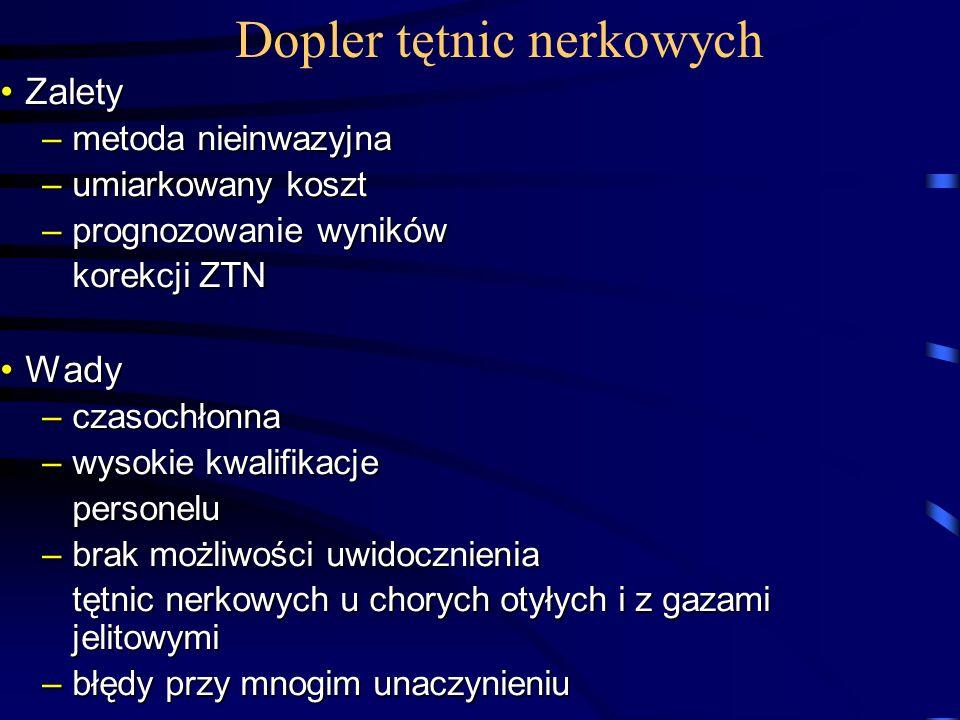 Dopler tętnic nerkowych ZaletyZalety –metoda nieinwazyjna –umiarkowany koszt –prognozowanie wyników korekcji ZTN WadyWady –czasochłonna –wysokie kwali
