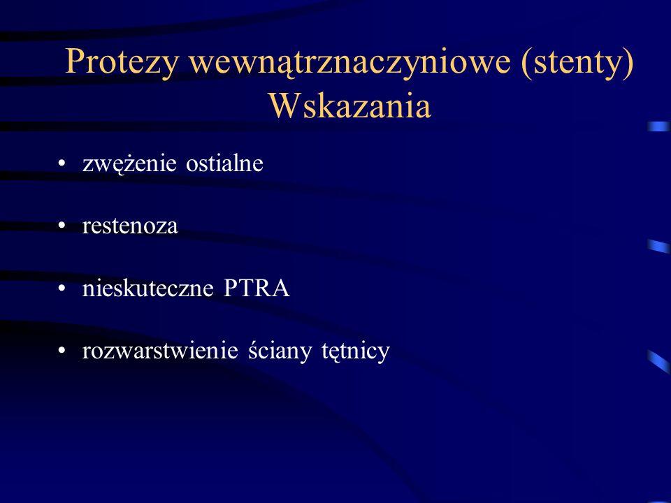 Protezy wewnątrznaczyniowe (stenty) Wskazania zwężenie ostialne restenoza nieskuteczne PTRA rozwarstwienie ściany tętnicy
