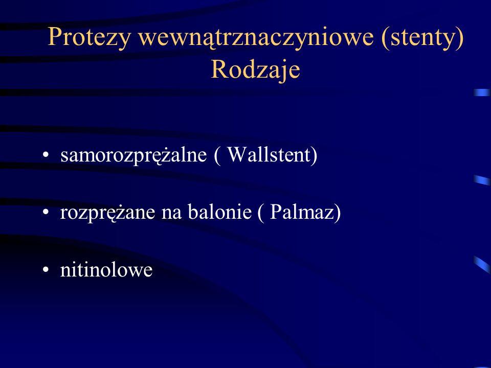 Protezy wewnątrznaczyniowe (stenty) Rodzaje samorozprężalne ( Wallstent) rozprężane na balonie ( Palmaz) nitinolowe