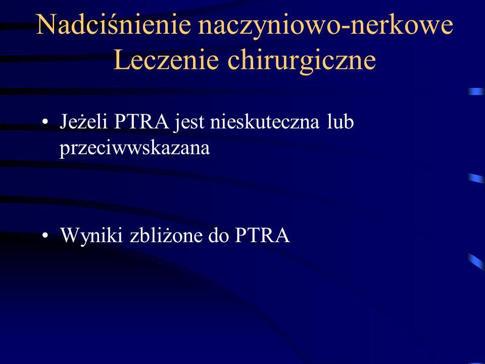 Nadciśnienie naczyniowo-nerkowe Leczenie chirurgiczne Jeżeli PTRA jest nieskuteczna lub przeciwwskazana Wyniki zbliżone do PTRA