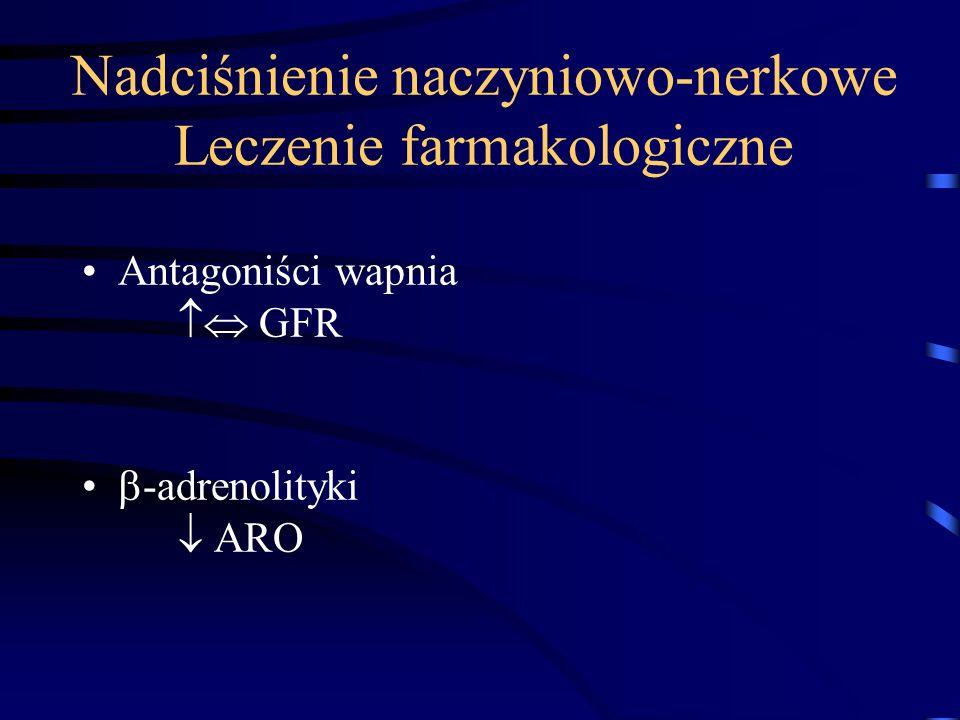 Nadciśnienie naczyniowo-nerkowe Leczenie farmakologiczne Antagoniści wapnia  GFR  -adrenolityki  ARO