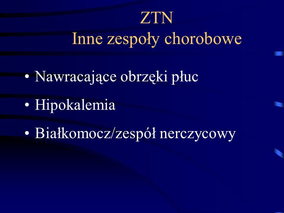 ZTN Inne zespoły chorobowe Nawracające obrzęki płuc Hipokalemia Białkomocz/zespół nerczycowy