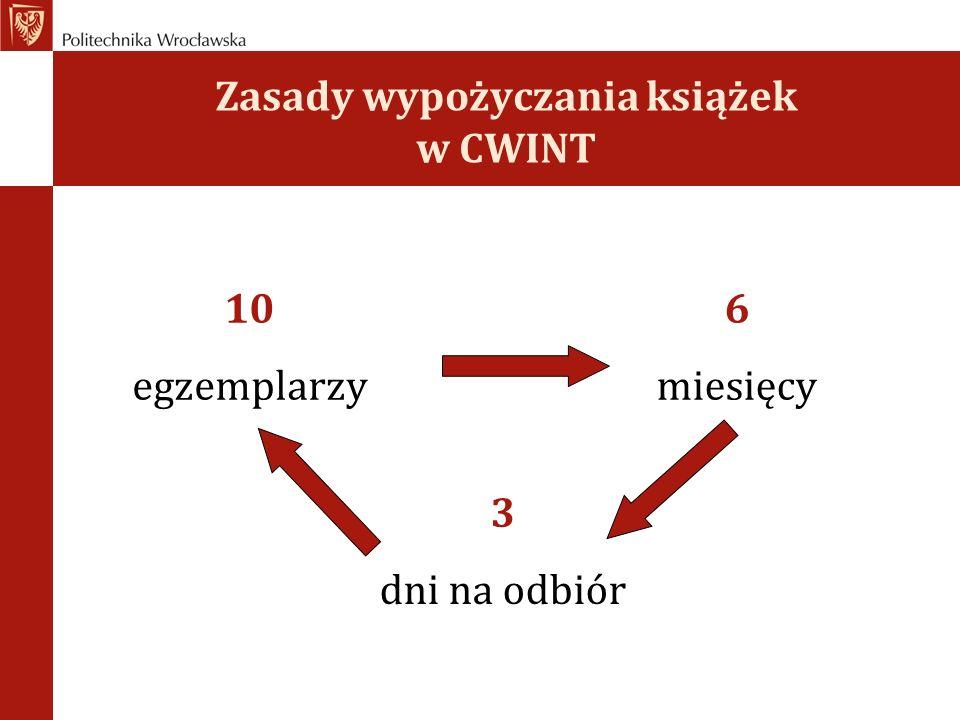 Zasady wypożyczania książek w CWINT 10 egzemplarzy 6 miesięcy 3 dni na odbiór