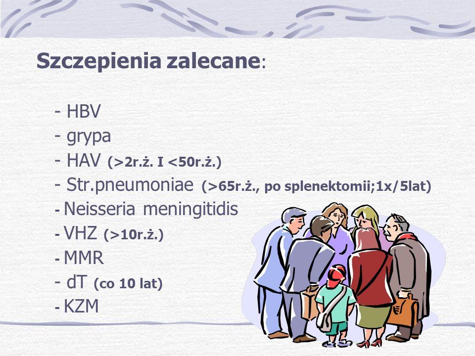 Szczepienia zalecane : - HBV - grypa - HAV (>2r.ż.