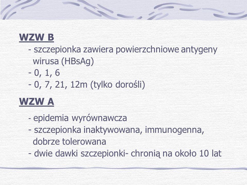 WZW B - szczepionka zawiera powierzchniowe antygeny wirusa (HBsAg) - 0, 1, 6 - 0, 7, 21, 12m (tylko dorośli) WZW A - epidemia wyrównawcza - szczepionka inaktywowana, immunogenna, dobrze tolerowana - dwie dawki szczepionki- chronią na około 10 lat