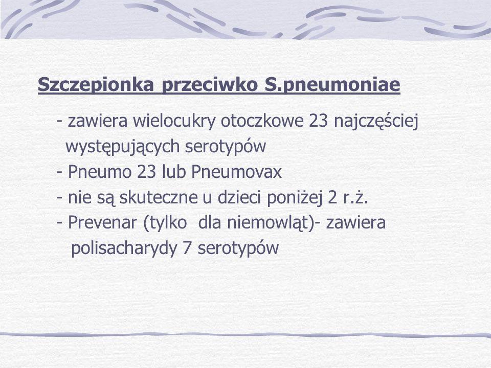 Szczepionka przeciwko S.pneumoniae - zawiera wielocukry otoczkowe 23 najczęściej występujących serotypów - Pneumo 23 lub Pneumovax - nie są skuteczne u dzieci poniżej 2 r.ż.