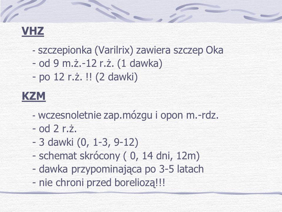 VHZ - szczepionka (Varilrix) zawiera szczep Oka - od 9 m.ż.-12 r.ż.