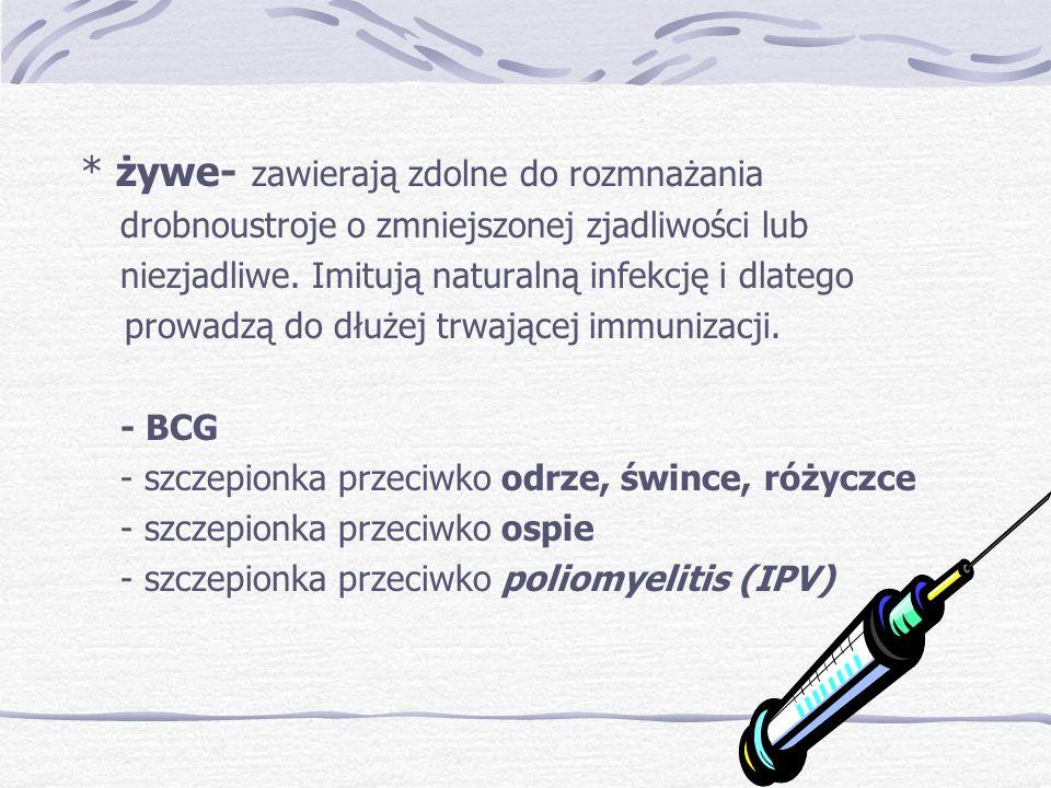 Odstępy między szczepieniami Nie można skracać odstępów, wydłużać wolno żywazabita żywa6 tyg.4 tyg.