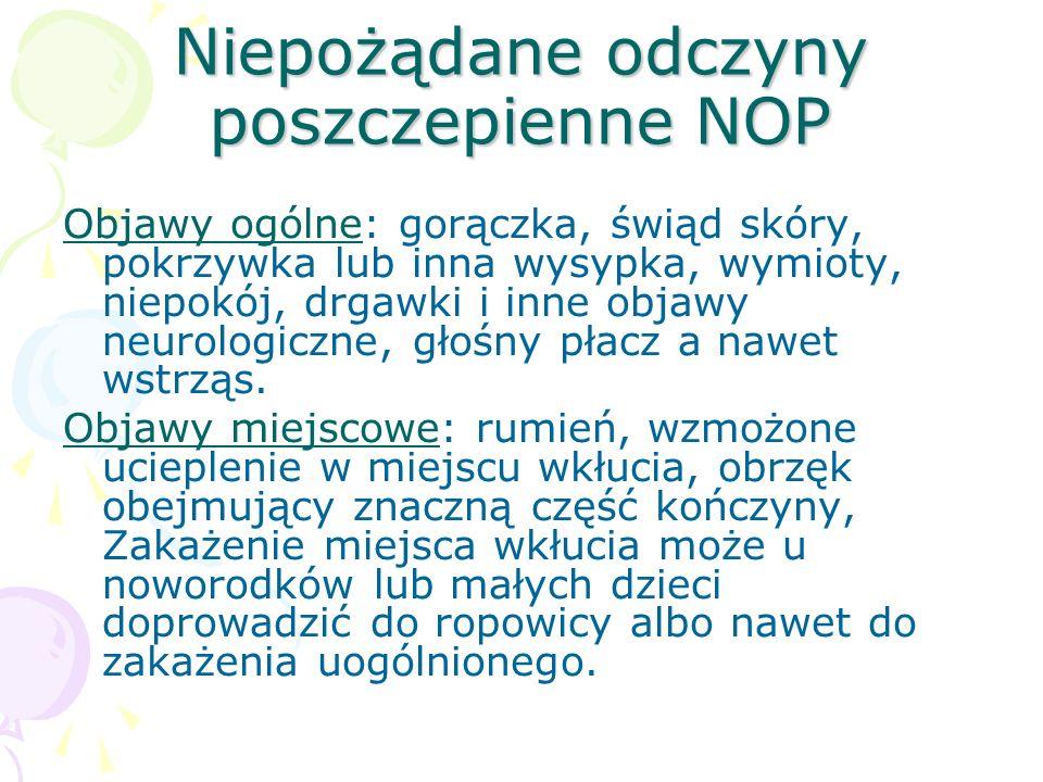 Niepożądane odczyny poszczepienne NOP Objawy ogólne: gorączka, świąd skóry, pokrzywka lub inna wysypka, wymioty, niepokój, drgawki i inne objawy neuro