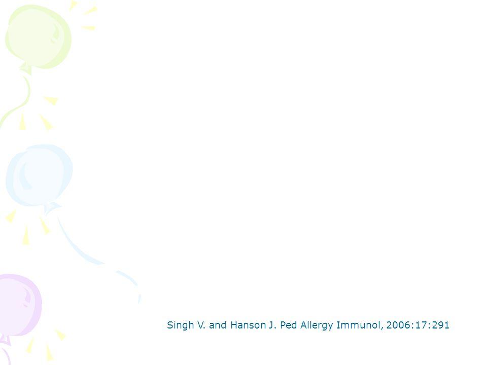 Singh V. and Hanson J. Ped Allergy Immunol, 2006:17:291