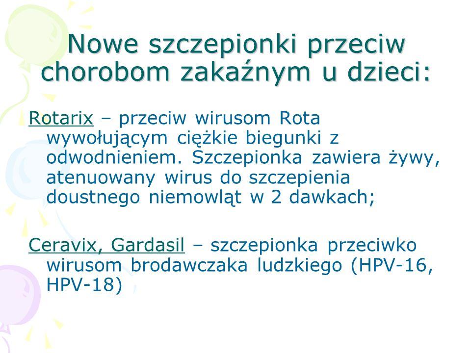 Nowe szczepionki przeciw chorobom zakaźnym u dzieci: Rotarix – przeciw wirusom Rota wywołującym ciężkie biegunki z odwodnieniem. Szczepionka zawiera ż