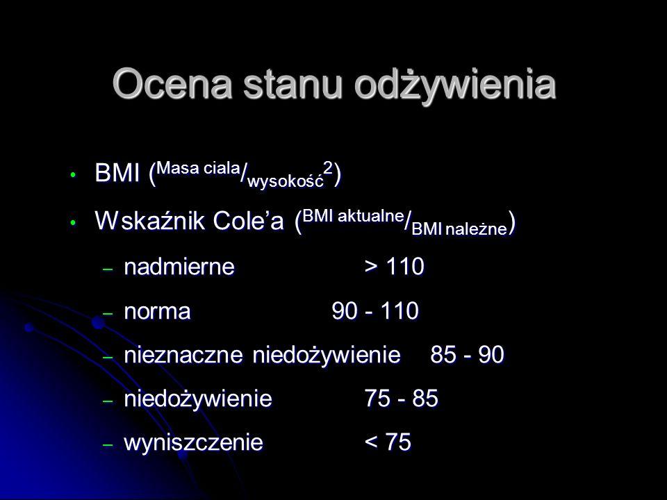 Ocena stanu odżywienia BMI ( Masa ciala / wysokość 2 ) BMI ( Masa ciala / wysokość 2 ) Wskaźnik Cole'a ( BMI aktualne / BMI należne ) Wskaźnik Cole'a ( BMI aktualne / BMI należne ) – nadmierne> 110 – norma90 - 110 – nieznaczne niedożywienie 85 - 90 – niedożywienie 75 - 85 – wyniszczenie< 75
