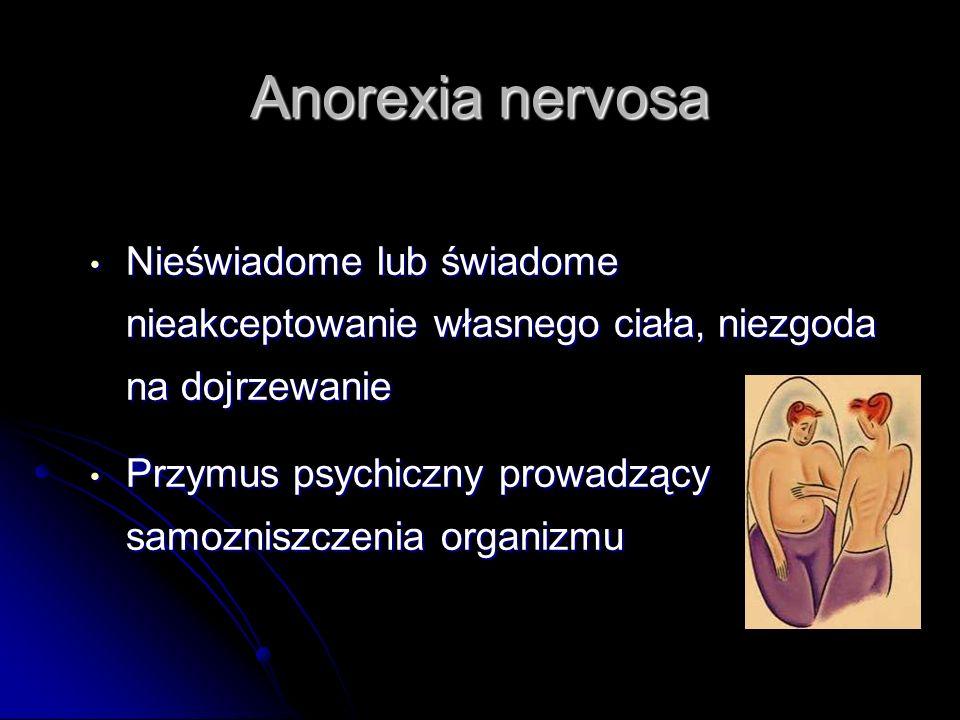 Anorexia nervosa Nieświadome lub świadome nieakceptowanie własnego ciała, niezgoda na dojrzewanie Nieświadome lub świadome nieakceptowanie własnego ci