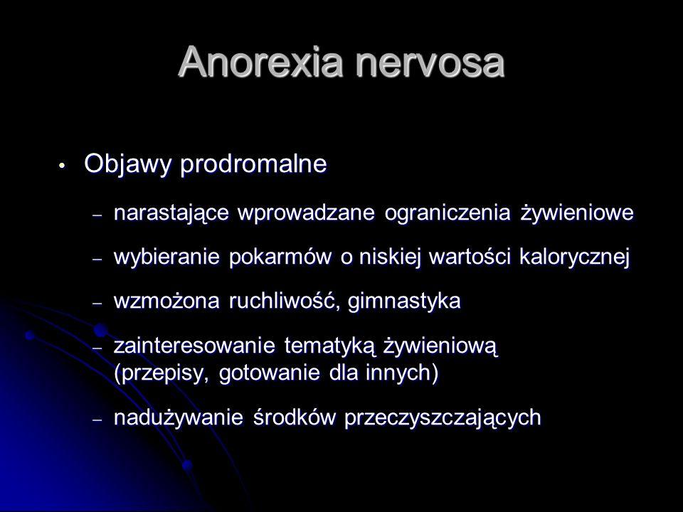 Anorexia nervosa Objawy prodromalne Objawy prodromalne – narastające wprowadzane ograniczenia żywieniowe – wybieranie pokarmów o niskiej wartości kalo