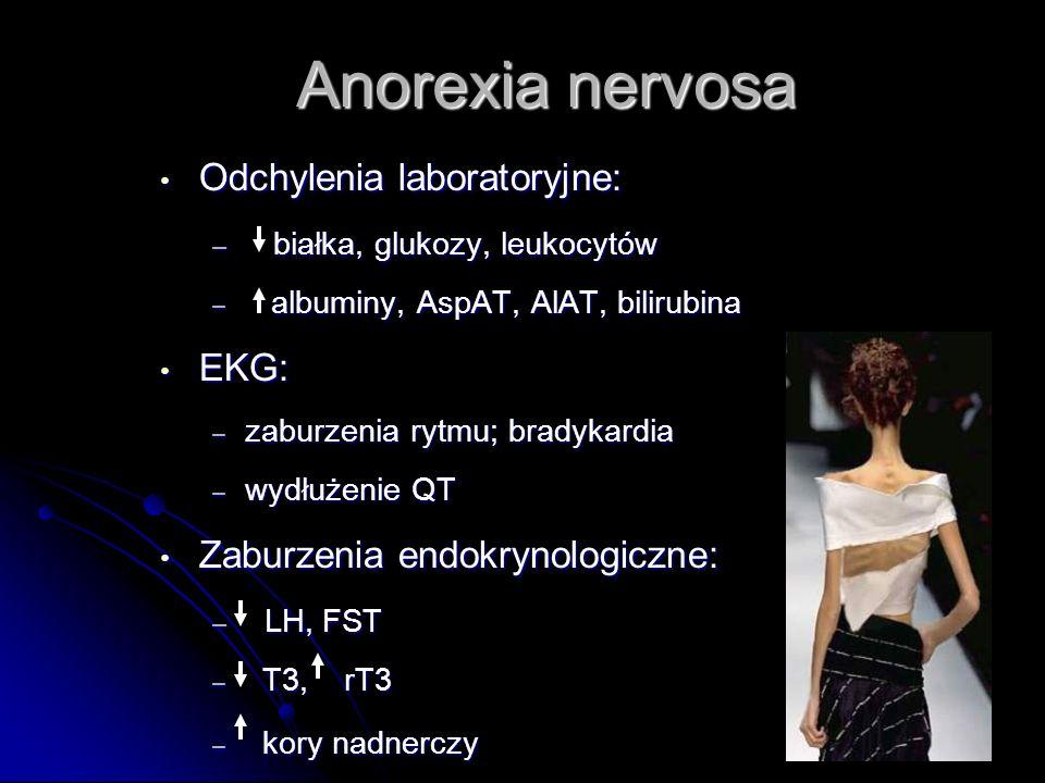 Anorexia nervosa Odchylenia laboratoryjne: Odchylenia laboratoryjne: – białka, glukozy, leukocytów – albuminy, AspAT, AlAT, bilirubina EKG: EKG: – zaburzenia rytmu; bradykardia – wydłużenie QT Zaburzenia endokrynologiczne: Zaburzenia endokrynologiczne: – LH, FST – T3, rT3 – kory nadnerczy