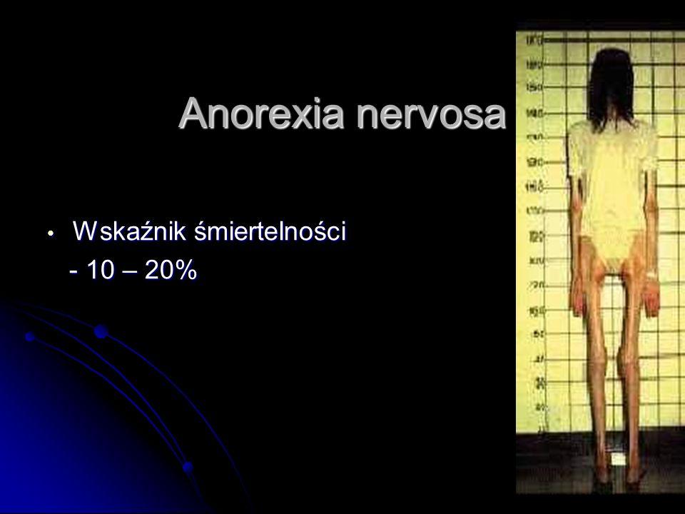 Anorexia nervosa Wskaźnik śmiertelności Wskaźnik śmiertelności - 10 – 20% - 10 – 20%