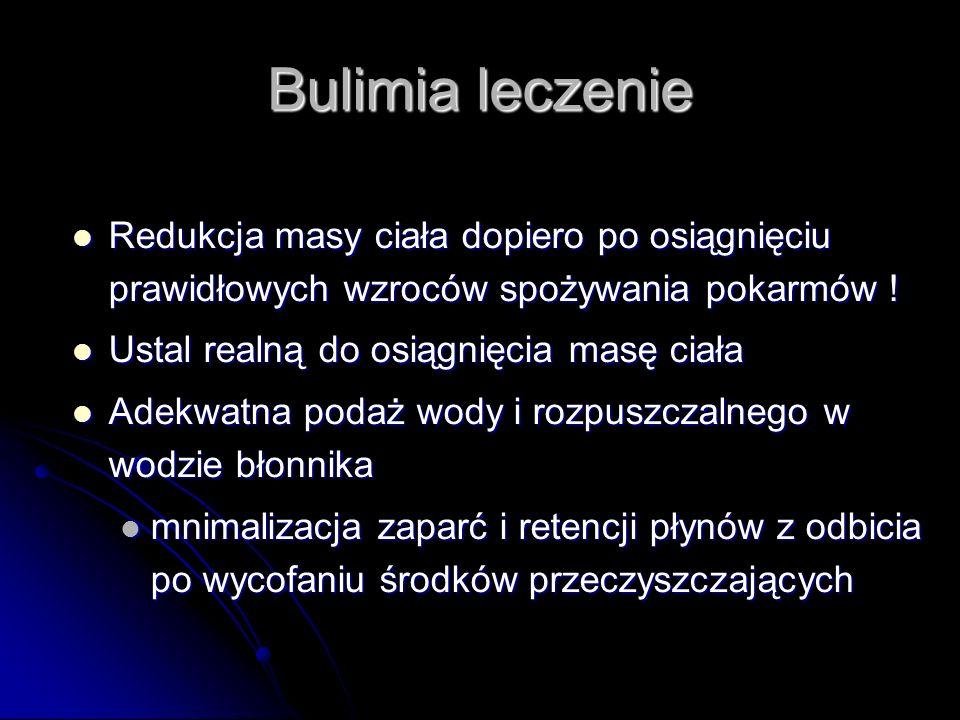 Bulimia leczenie Redukcja masy ciała dopiero po osiągnięciu prawidłowych wzroców spożywania pokarmów ! Redukcja masy ciała dopiero po osiągnięciu praw