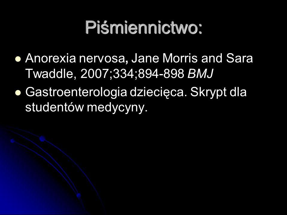 Anorexia nervosa, Jane Morris and Sara Twaddle, 2007;334;894-898 BMJ Gastroenterologia dziecięca. Skrypt dla studentów medycyny. Piśmiennictwo: