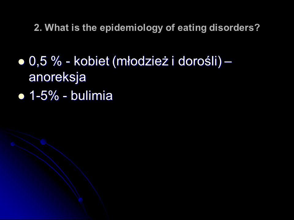 2. What is the epidemiology of eating disorders? 0,5 % - kobiet (młodzież i dorośli) – anoreksja 0,5 % - kobiet (młodzież i dorośli) – anoreksja 1-5%