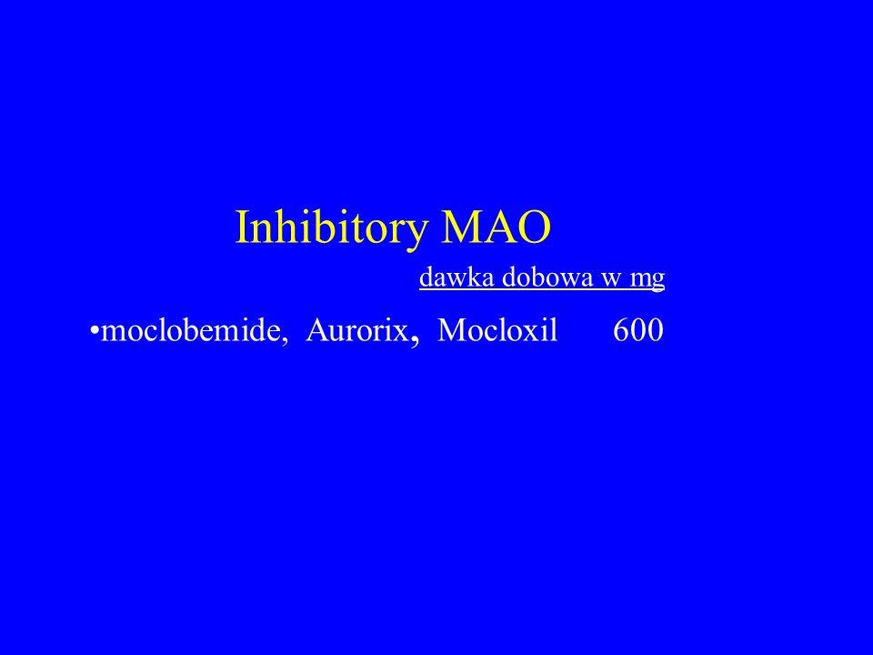 Inhibitory MAO dawka dobowa w mg moclobemide, Aurorix, Mocloxil600