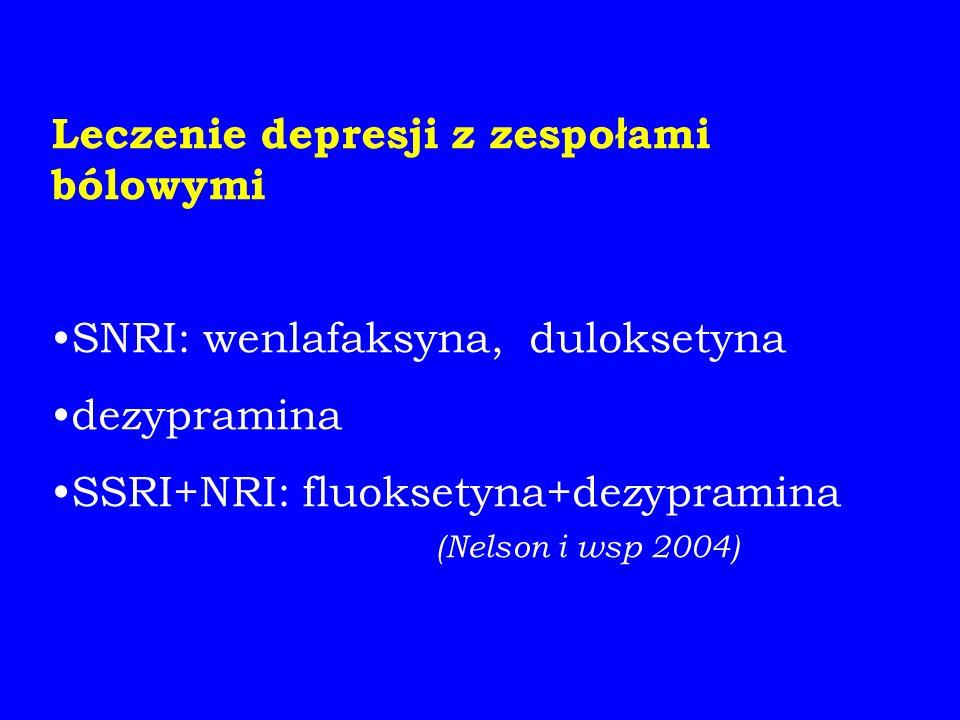 Leczenie depresji z zespo ł ami bólowymi SNRI: wenlafaksyna, duloksetyna dezypramina SSRI+NRI: fluoksetyna+dezypramina (Nelson i wsp 2004)