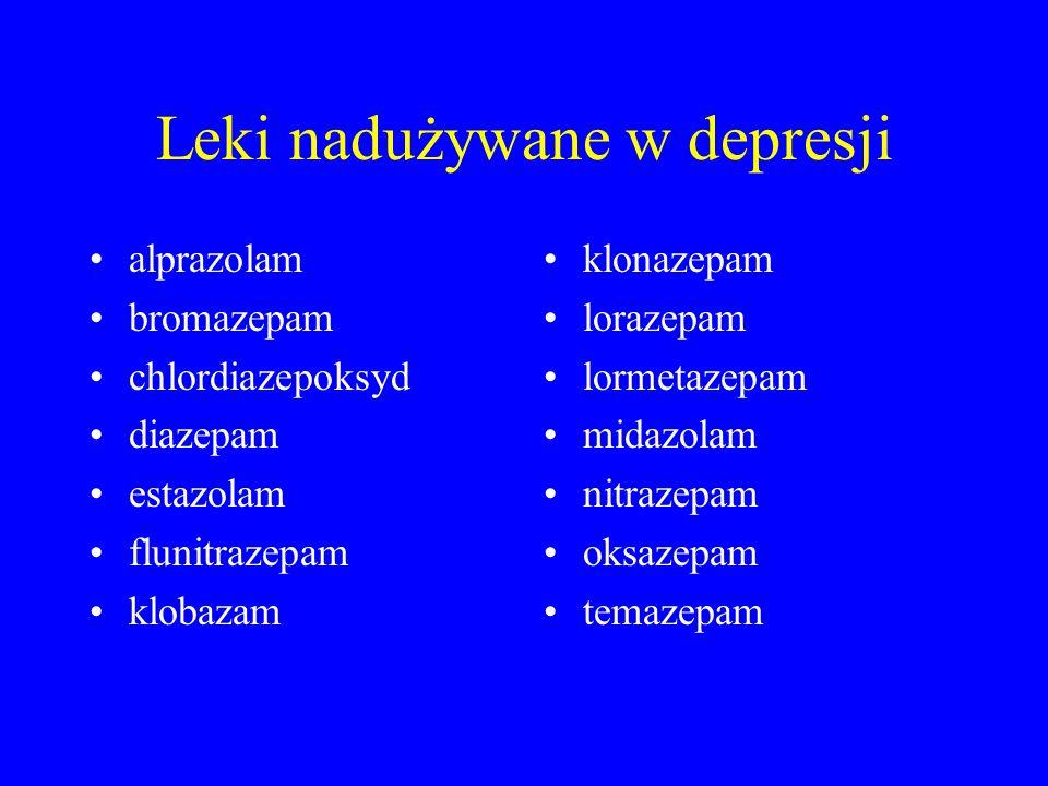 Leki nadużywane w depresji alprazolam bromazepam chlordiazepoksyd diazepam estazolam flunitrazepam klobazam klonazepam lorazepam lormetazepam midazolam nitrazepam oksazepam temazepam