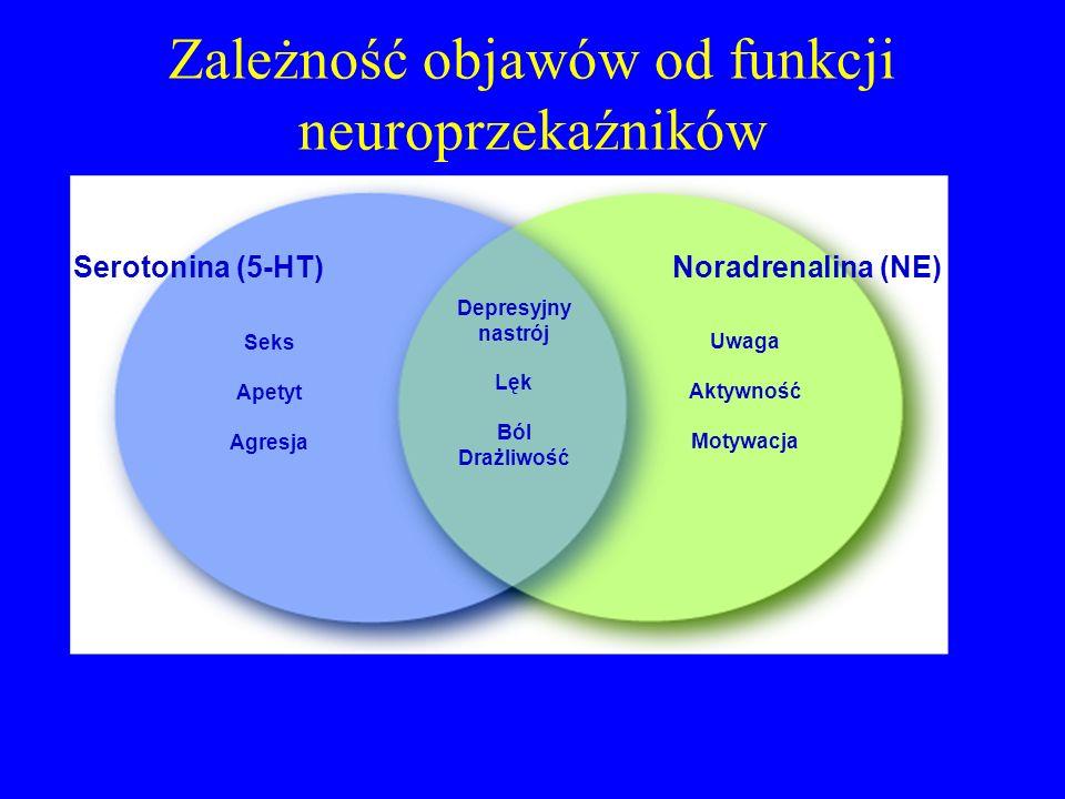 Zależność objawów od funkcji neuroprzekaźników Seks Apetyt Agresja Uwaga Aktywność Motywacja Depresyjny nastrój Lęk Ból Drażliwość Noradrenalina (NE)Serotonina (5-HT)