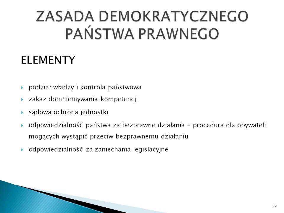 ELEMENTY  podział władzy i kontrola państwowa  zakaz domniemywania kompetencji  sądowa ochrona jednostki  odpowiedzialność państwa za bezprawne działania - procedura dla obywateli mogących wystąpić przeciw bezprawnemu działaniu  odpowiedzialność za zaniechania legislacyjne 22