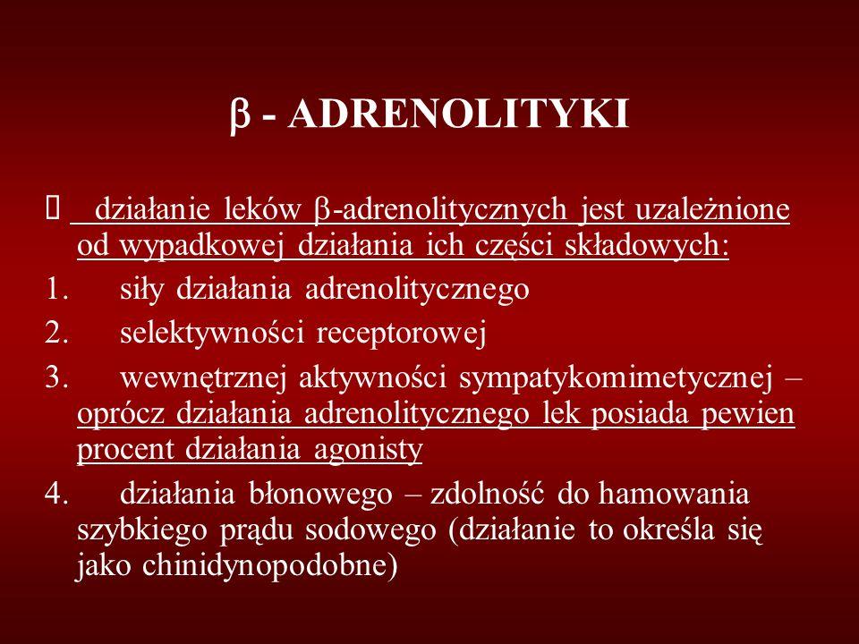  - ADRENOLITYKI  działanie leków  -adrenolitycznych jest uzależnione od wypadkowej działania ich części składowych: 1. siły działania adrenolityczn
