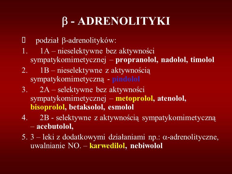  - ADRENOLITYKI  podział  -adrenolityków: 1. 1A – nieselektywne bez aktywności sympatykomimetycznej – propranolol, nadolol, timolol 2. 1B – niesele
